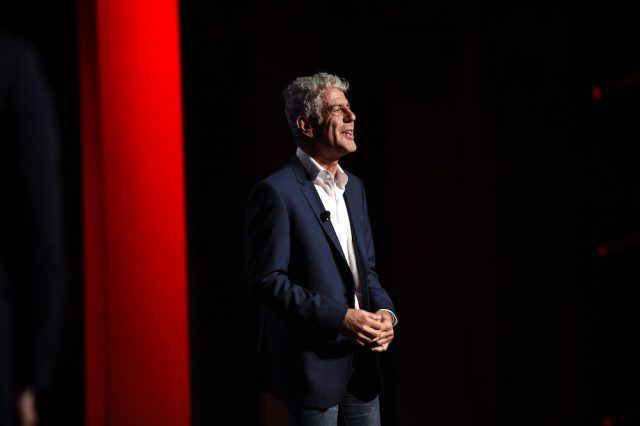 Anthony Bourdain appears on stage during Turner Upfront 2016 show