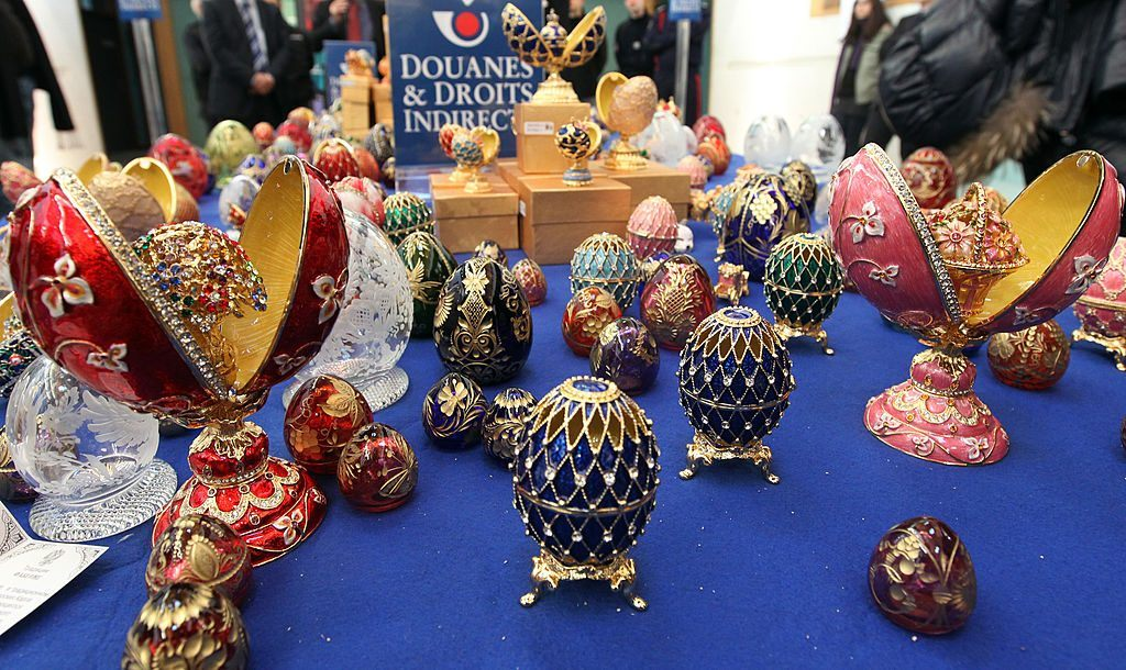 Imitation Faberge eggs on display
