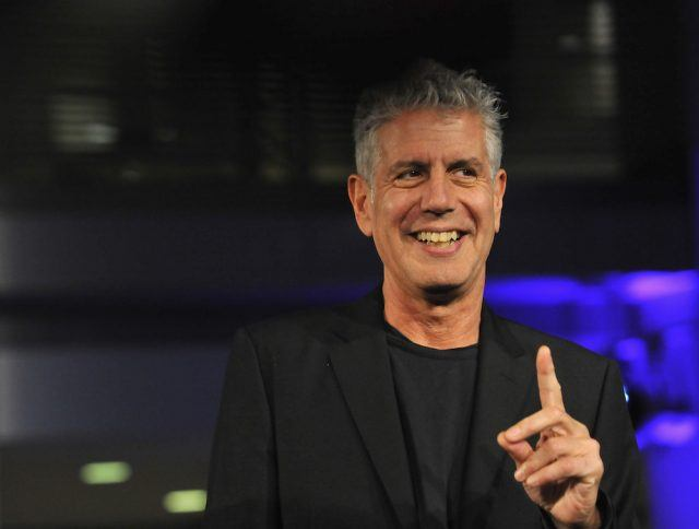Athony Bourdain speaks on stage during the DC Central Kitchen's Capital Food Fight event
