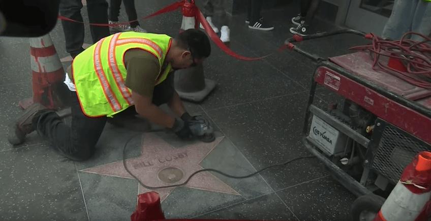 Bill Cosby's vandalized star on the Hollywood Walk of Fame