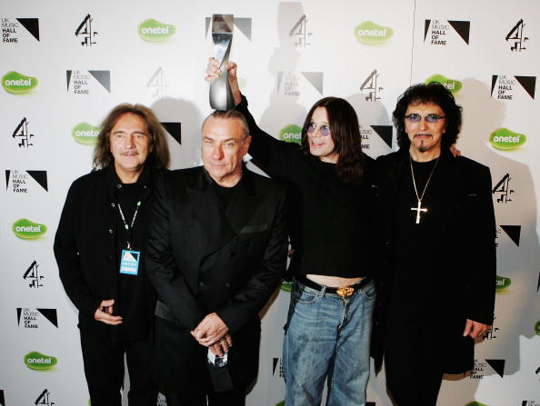 (L-R) Black Sabbath band members Terry Butler, Bill Ward, Ozzy Osbourne and Tony Iommi