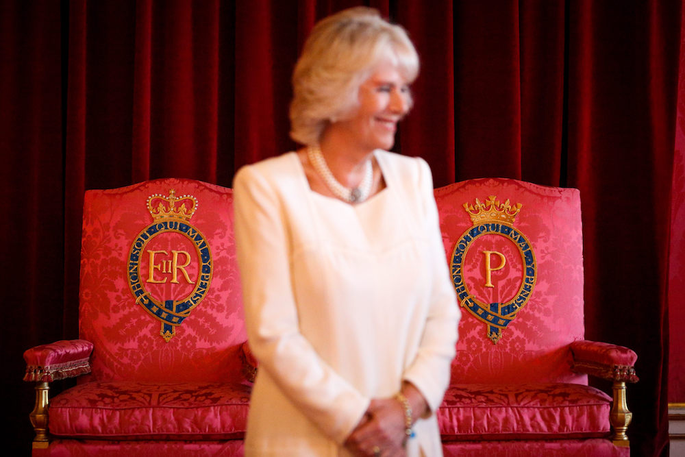 Camilla, Duchess of Cornwall, in the Throne Room at Buckingham Palace