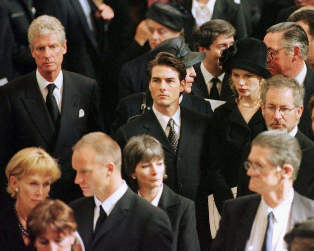 Celebrities arrive for Princess Diana's funeral