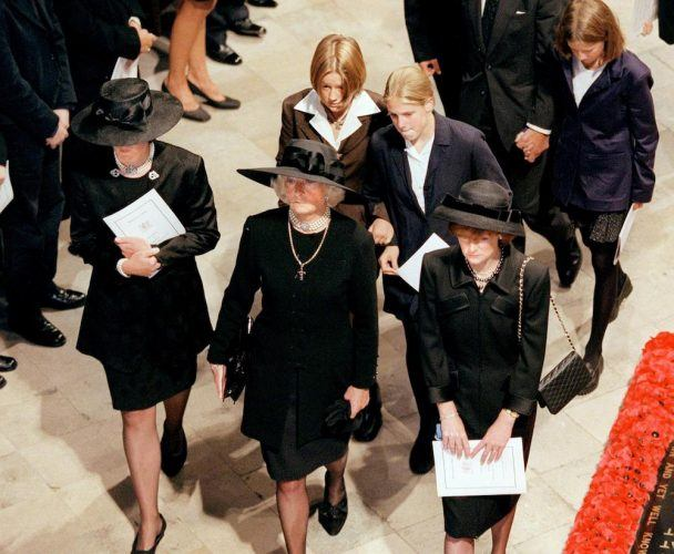 Diana's mother, Frances Shand Kidd, and Diana's sisters Jane and Sarah arrive for Princess Diana's funeral