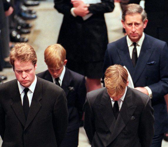 Earl Spencer, Diana's brother, her two sons Harry and William, and her former husband Charles arrive into Westminster Abbey