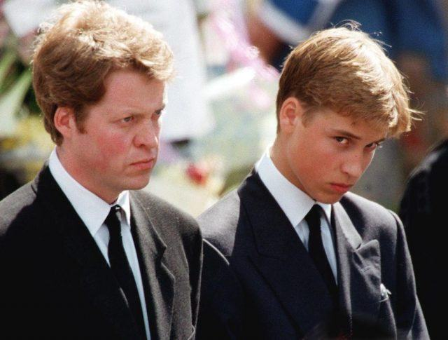 Earl Spencer and Prince William wait in front of Westminster Abbey