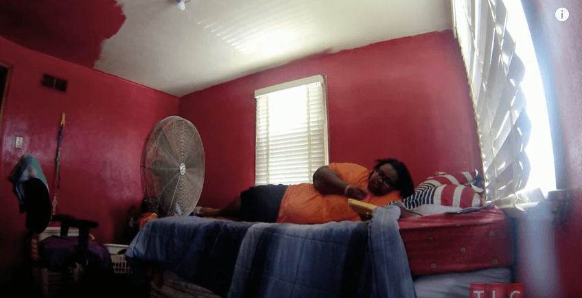 Woman eating mattresses