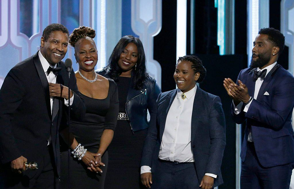 Denzel Washington with his family at the Golden Globe Awards in 2016