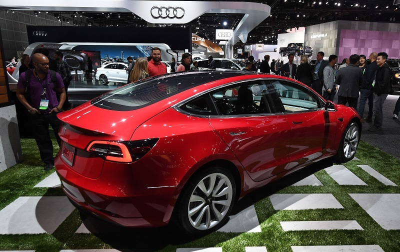 Exterior of the new Tesla Model 3, at the 2017 LA Auto Show in Los Angeles, California on November 29, 2017.