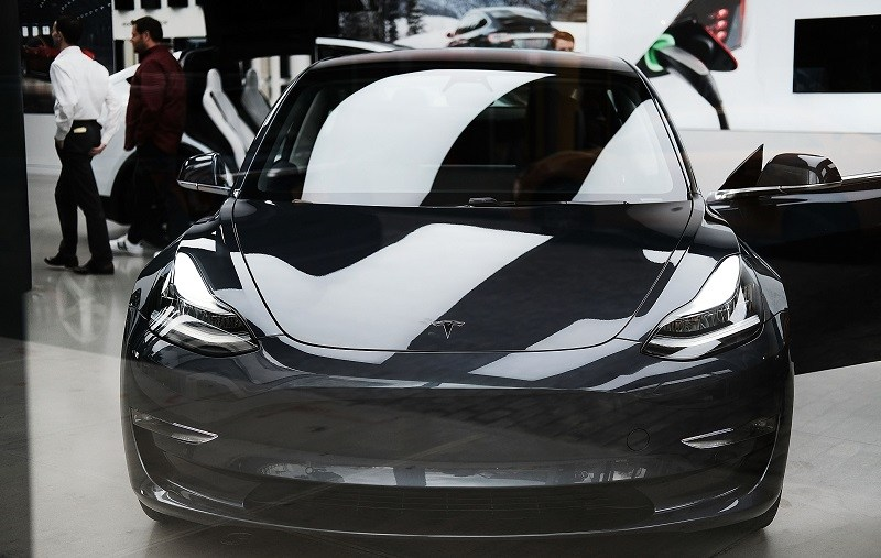 View of Tesla Model 3 in Chelsea, NYC show room