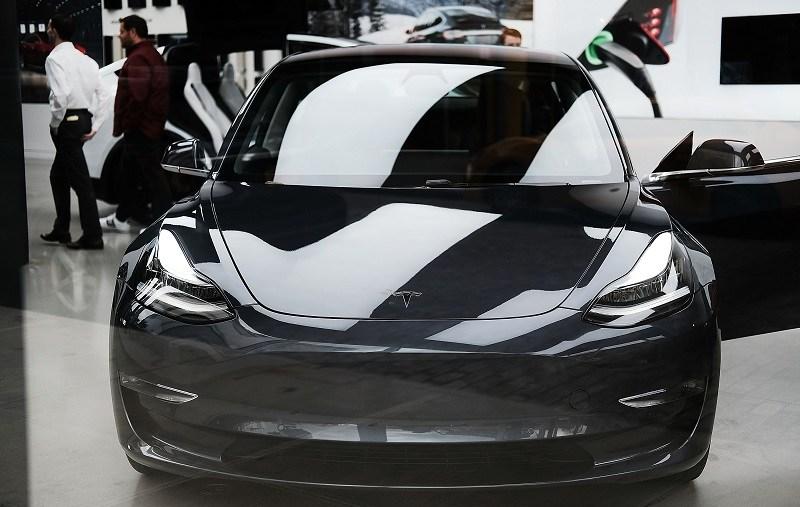 View of Tesla Model 3 in Chelsea, NYC show room