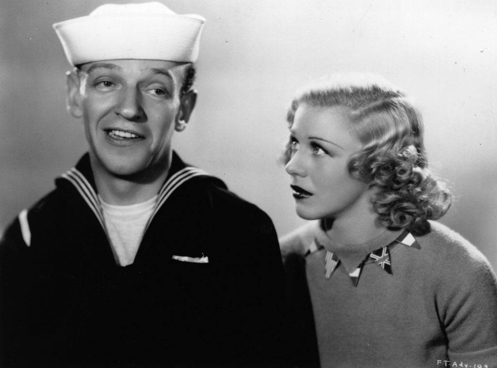 Ginger Rogers with Fred Astaire in a still from Follow the Fleet