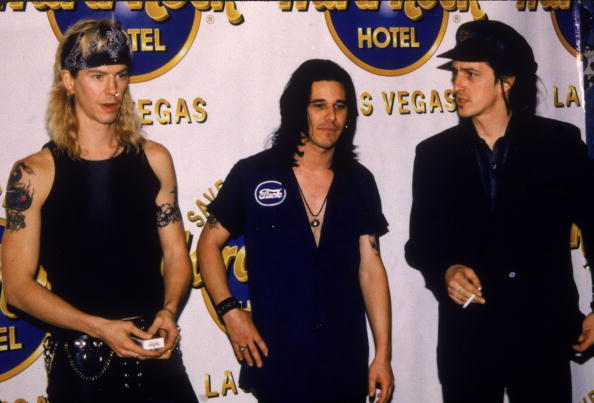 Guns N' Roses in 1992. From left, Duff McKagan, Gilby Clarke, and Izzy Stradlin