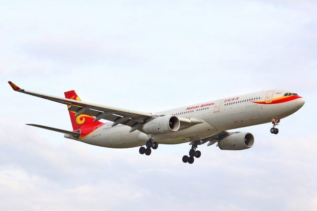 Hainan Airlines Airbus A330 arrives to the Tegel International Airport
