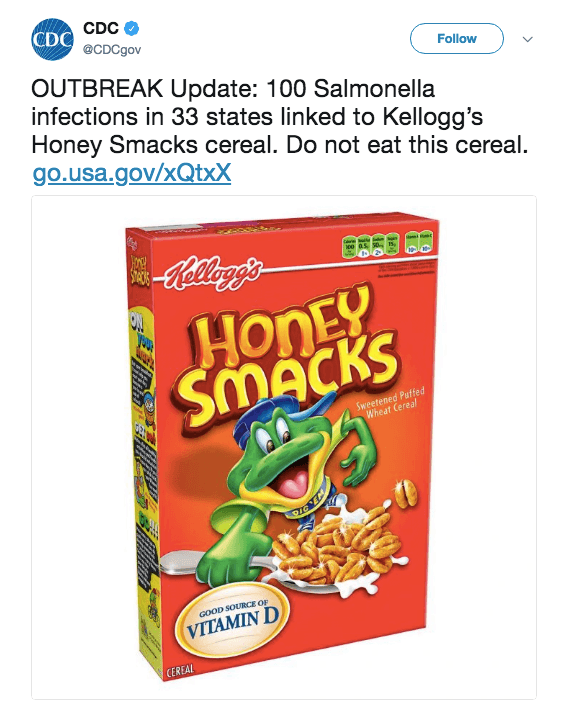 The CDC warns about Honey Smacks on Twitter