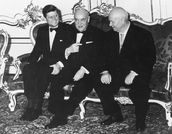 John F Kennedy (left), President Scharf of Austria (centre), and Soviet prime minister Nikita Khrushchev