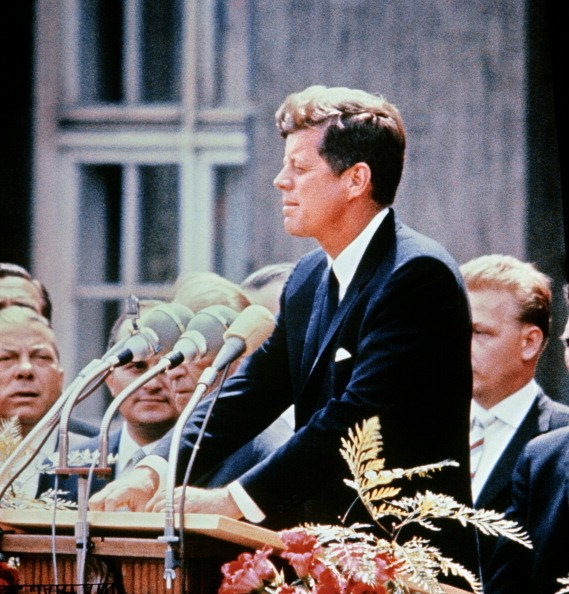 John F. Kennedy giving a speech