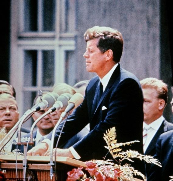 John F. Kennedy giving a speech
