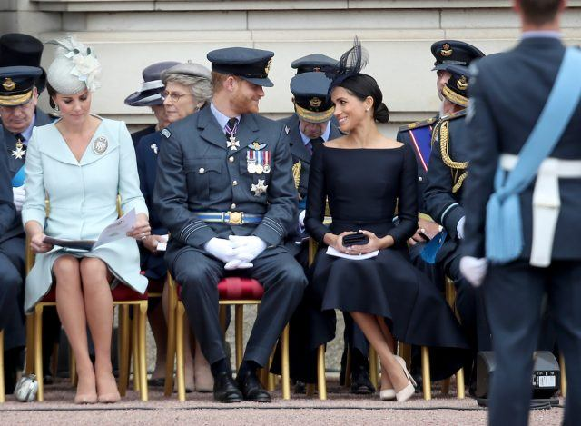(L-R) Britain's Catherine, Duchess of Cambridge, Britain's Prince William, Duke of Cambridge, Meghan, Duchess of Sussex and Britain's Prince Harry, arrive for a service to mark the centenary of the Royal Air Force (RAF) at Westminster Abbey in central London on July 10, 2018.