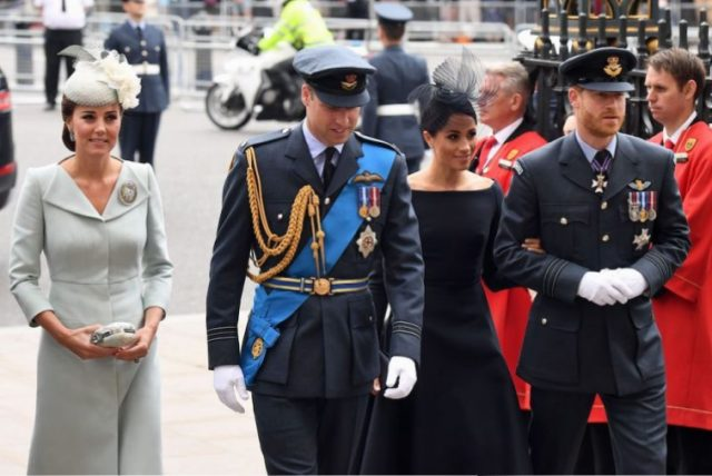 Kate Middleton, Prince William, Meghan Markle, and Prince Harry arrive for a service marking the centenary of the Royal Air Force
