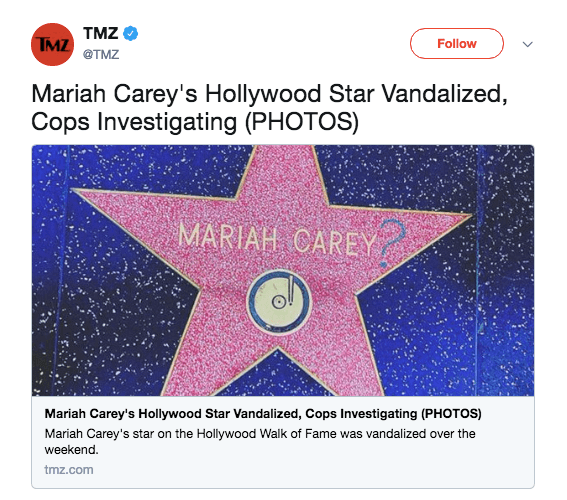 Mariah Carey's star on the Hollywood Walk of Fame that was vandalized