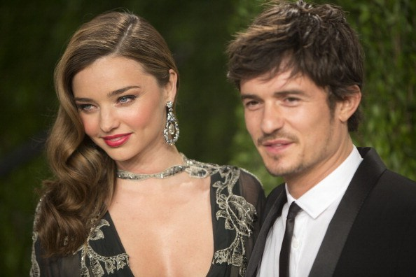 Miranda Kerr and Orlando Bloom arrive for the 2013 Vanity Fair Oscar Party