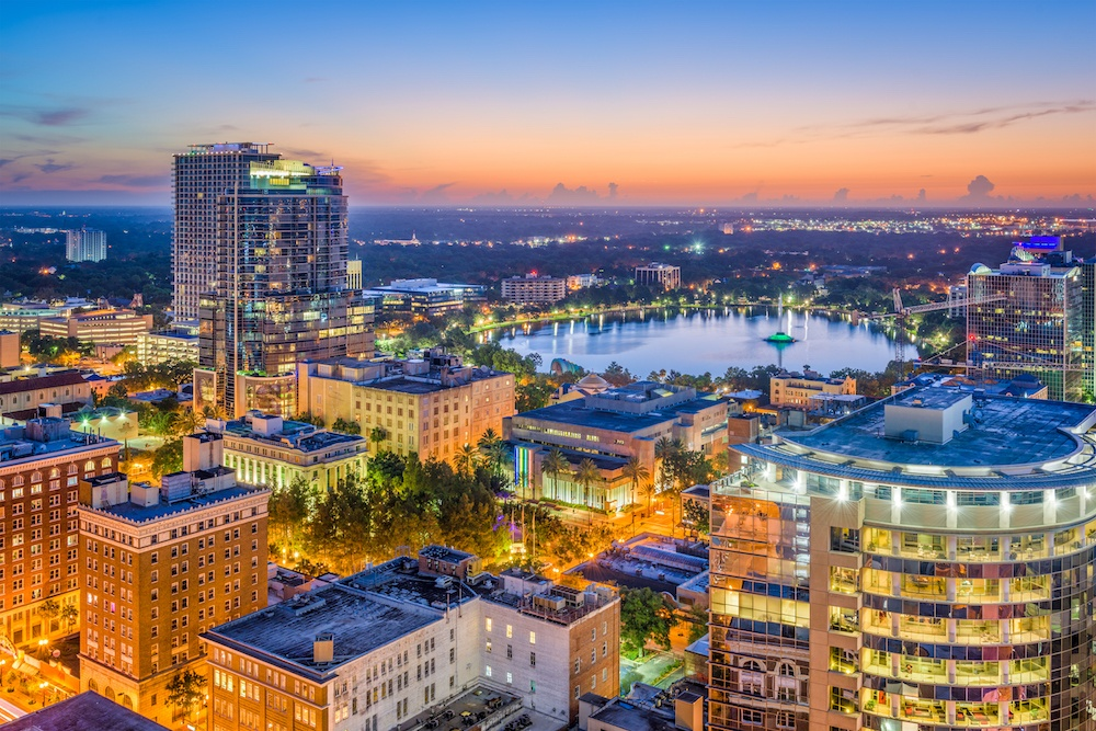 Orlando, Florida, skyline. Orlando and neighboring Kissimmee have homes in flood-prone areas.