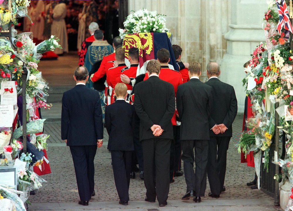 Prince Charles, Prince Harry, Earl Spencer, Prince William and the Duke of Edinburgh follow Princess Diana's coffin into Westminster Abbey