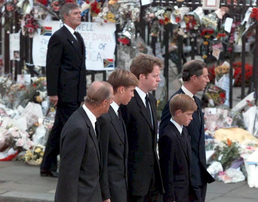 Prince Philip, Prince William, Earl Spencer, Prince Harry, and Prince Charles arrive for Princess Diana's funeral