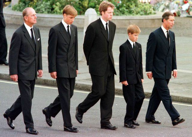 Prince Philip, Prince William, Earl Spencer, Prince Harry and Prince Charles walk outside Westminster Abbey