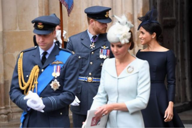 Prince William, Kate Middleton, Prince Harry, and Meghan Markle leave a service to mark the centenary of the Royal Air Force