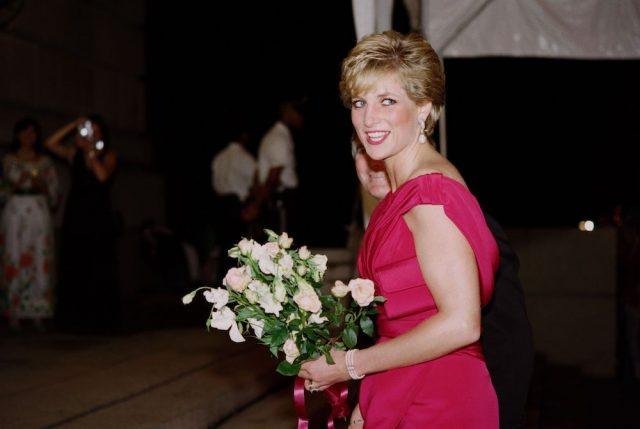 Princess Diana arrives for a charity gala at the Departmental Auditorium in Washington.