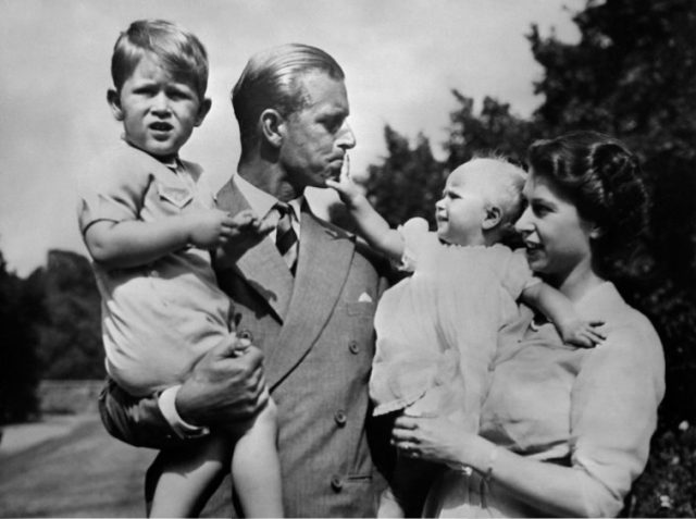 Princess Elizabeth with her husband, Philip, and children, Prince Charles and Princess Anne