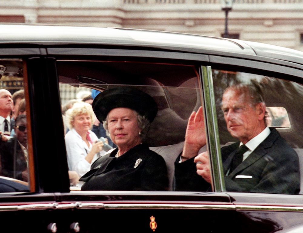 Queen Elizabeth II and Prince Philip arrive at Buckingham Palace the day before Princess Diana's funeral