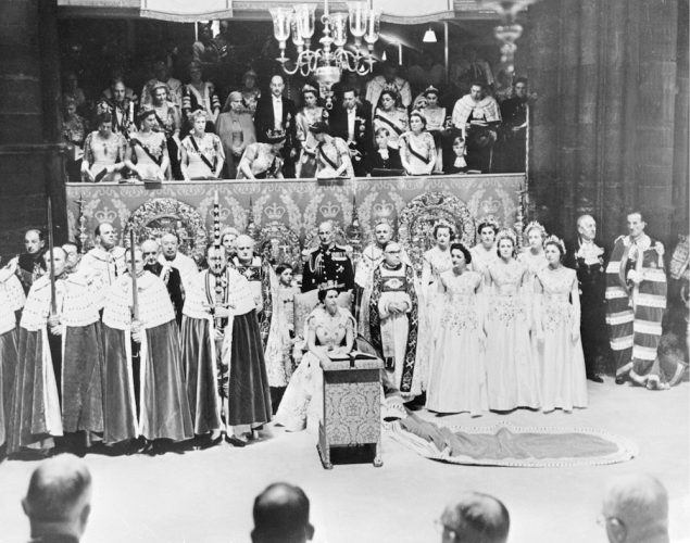 Queen Elizabeth II at Westminster Abbey during her coronation
