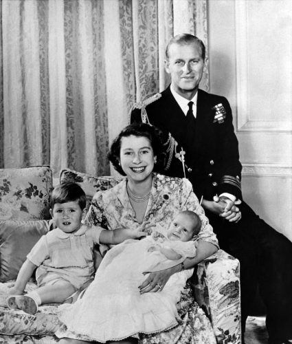 Queen Elizabeth II poses with Prince Philip, Prince Charles, and Princess Anne