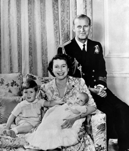 Queen Elizabeth II, Prince Philip, Prince Charles, and Princess Anne