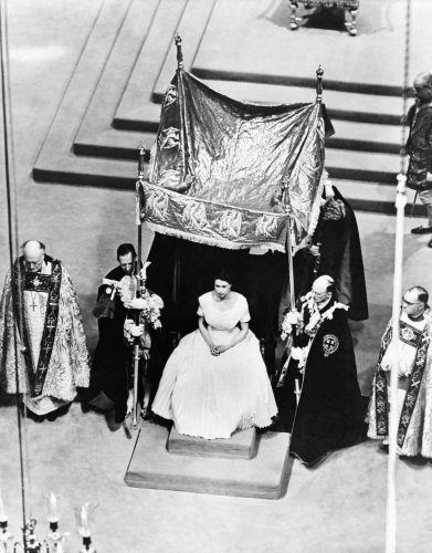 Queen Elizabeth II prior to her anointing by the Archbishop of Canterbury