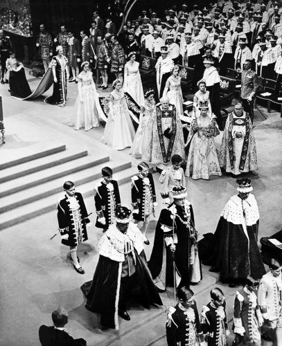 Queen Elizabeth II walks to the altar during her coronation