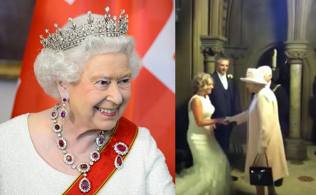 The newlyweds meet Queen Elizabeth.