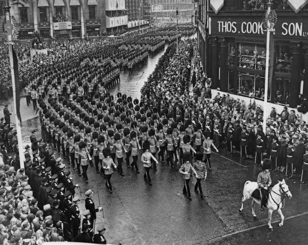 Queen's Guards marching along Pall Mall as part of Queen Elizabeth II's Coronation procession