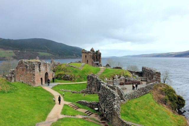 Ruins of Urquhart Castle in the Scottish Highlands on Loch Ness