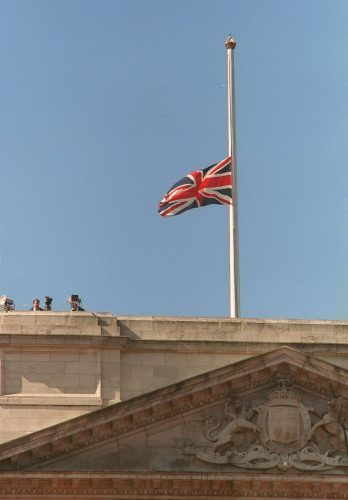 The Union Jack flies at half mast over Buckingham Palace the day of Princess Diana's funeral