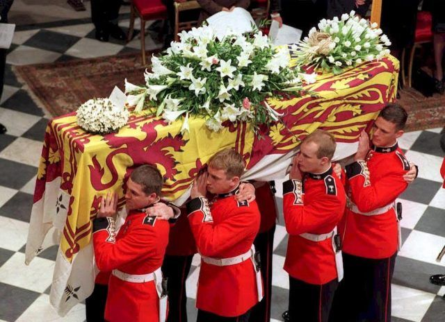 The coffin of Diana, Princess of Wales, is carried inside Westminster Abbey