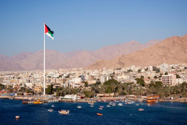 View of the city of Aqaba from the gulf of Aqaba