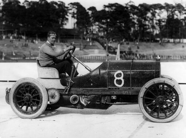 1907 Racing driverJ E Hutton at Brooklands racetrack in the Mercedes car with which he won the Montagu Cup