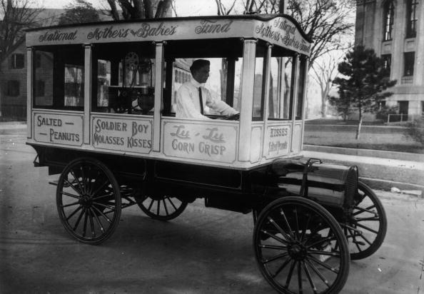 1913 A vehicle equipped with Candy Kiss and popcorn making machinery to sell around the streets
