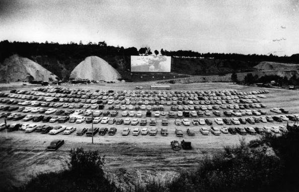 550 cars watch a film on the opening night in July 1961