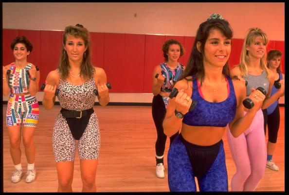 Women doing aerobics in the 1990s