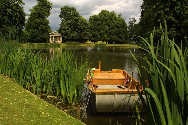 A boat is moored at Oval Lake, the burial place of Diana, Princess of Wales